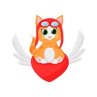 Милый котенок пилот летит на красное сердце