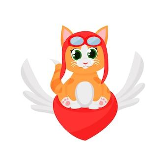 Cute kitten pilot flying on red heart