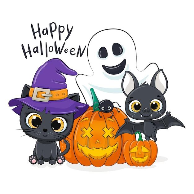 かわいい子猫、カボチャ、コウモリ、幽霊、クモ。幸せなハロウィーンのイラスト。