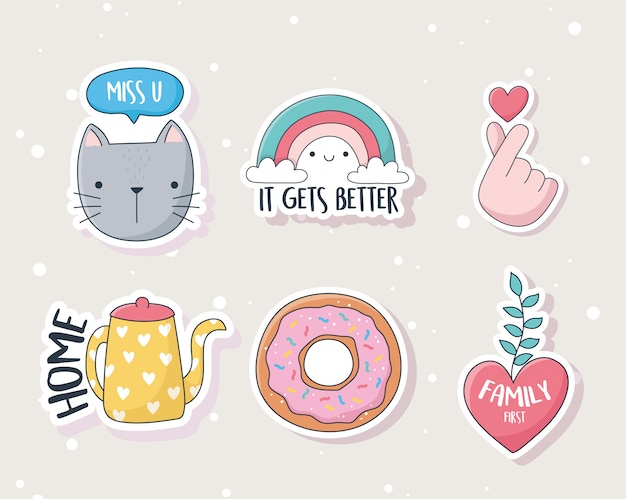 Cute kitten rainbow heart donut kettle stuff for cards stickers or patches decoration cartoon