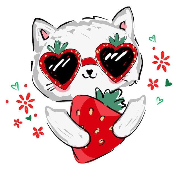 Cute kitten in sunglasses and strawberry vector illustration hand drawn childrens summer trend print sketch cat