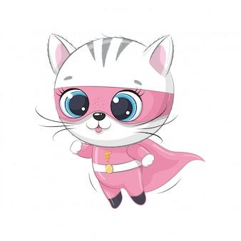 Милый котенок супер герой.