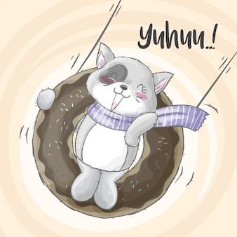 Cute kitten on the swing hand drawn