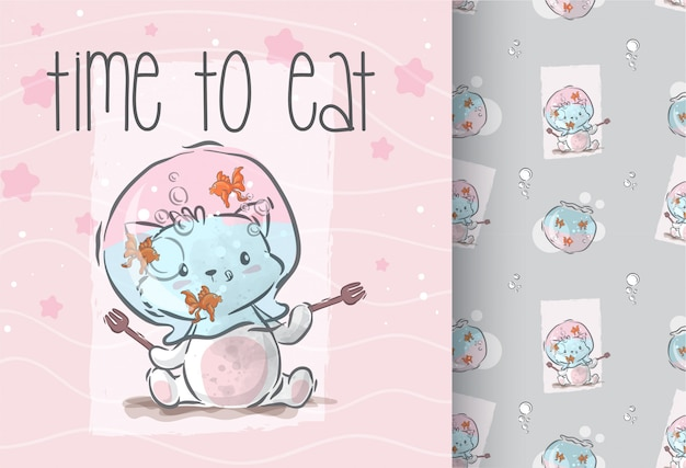 Cute kitten time to eat seamless pattern