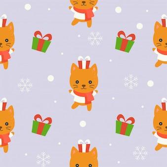 Cute kitten winter theme, editable line detail,christmas seamless pattern theme