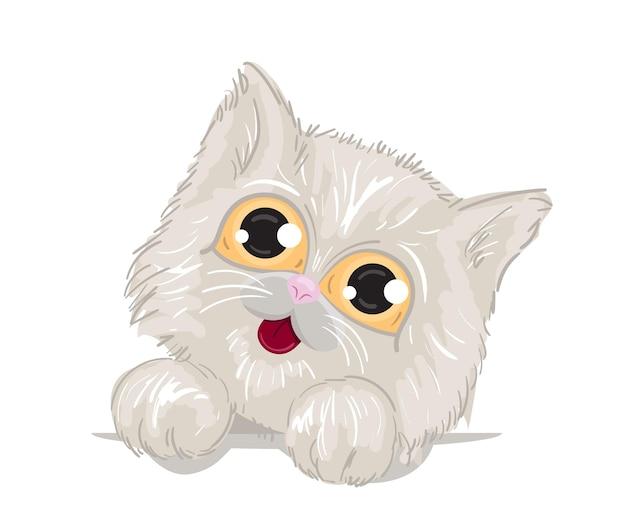 크고 아름다운 눈과 푹신한 다리를 가진 귀여운 고양이. 흰 고양이, 옷에 인쇄하기 위한 템플릿. 벡터 일러스트 레이 션.
