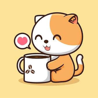 マグカップを持ったかわいい子猫