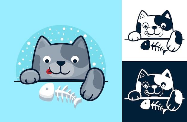 Милый котенок с рыбьей костью. карикатура иллюстрации в стиле плоской иконки
