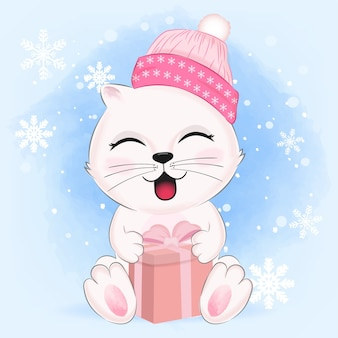 Cute kitten with gift box in winter illustration.