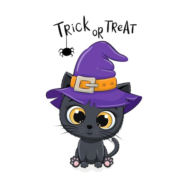 帽子のかわいい子猫。幸せなハロウィーンのイラスト。