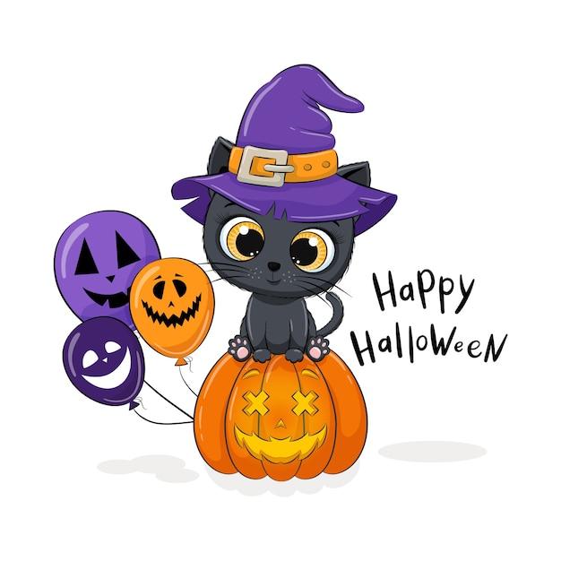 帽子、カボチャ、バルーンのかわいい子猫。幸せなハロウィーンのイラスト。