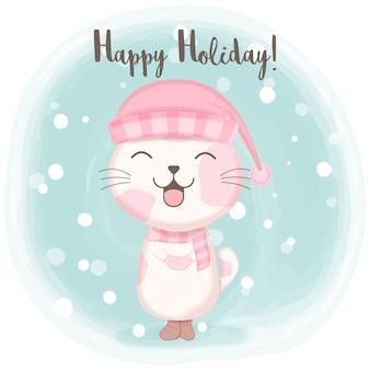 Cute kitten with snow cartoon illustration