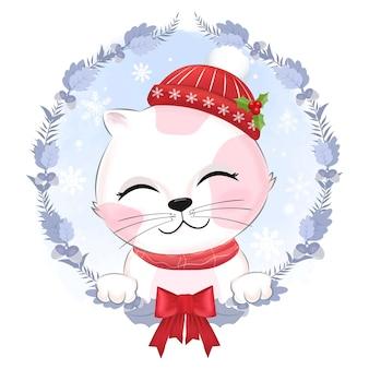 Cute kitten with wreath christmas illustration.
