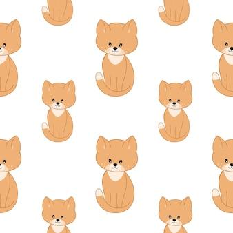 かわいい子猫と猫は白い背景で隔離。子供部屋の猫とベクトルパターン、。布、包装紙、衣類に印刷するためのシームレスな無限の背景。