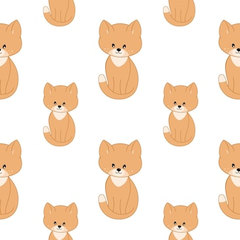 Cute kittens and cat isolated on white background. vector pattern with cats for children's room,. seamless endless background for printing on fabric, packaging paper, clothing.
