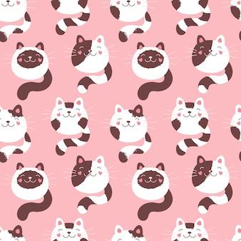 かわいい子猫のシームレスなパターン、ふわふわの猫。テキスタイル、パッケージ、ファブリック、壁紙のピンクプリント。