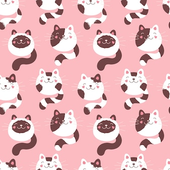 Cute kittens seamless pattern, fluffy cats. pink print for textiles, packaging, fabric, wallpaper.