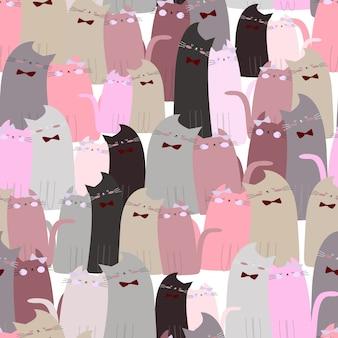 Симпатичные котята бесшовные модели
