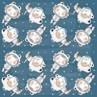 Cute kittens in space pattern