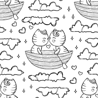 Cute kitties in boat kissing and floating on the clouds. valentine's day cartoon hand drawn monochrome seamless pattern