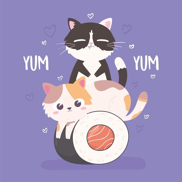 Cute kitties and food
