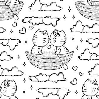 보트 키스와 구름에 떠있는 귀여운 키티. 발렌타인 만화 손으로 그린 흑백 원활한 패턴