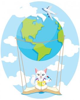 Cute kitty in the air earth balloon