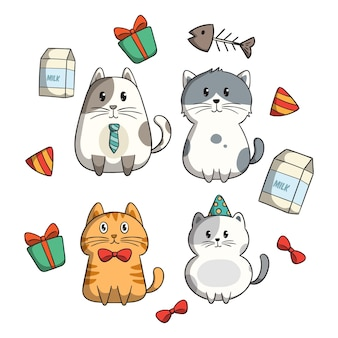 Cute kitty cat collection with doodle style