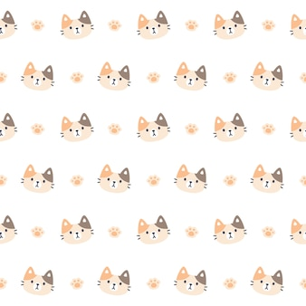 Cute kitty cat and paws footprint seamless pattern