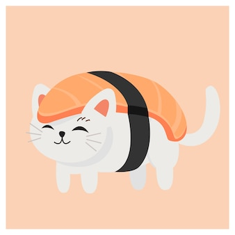 Cute kitty cat in sushi,  japanese sushi , salmon sushi.