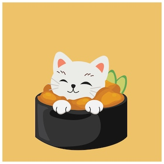 Cute kitty cat in sushi, uni sushi,