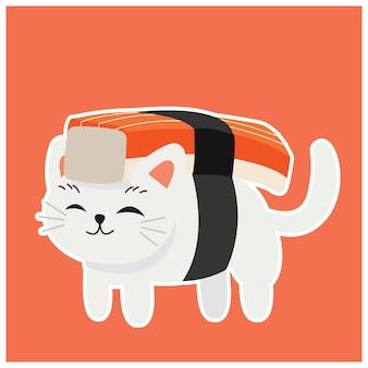 Cute kitty cat in sushi