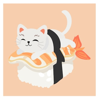 Cute kitty cat in sushi