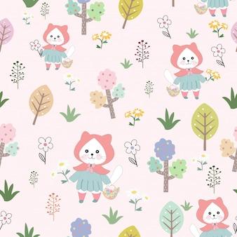 Cute kitty cat in the sweet garden seamless pattern.