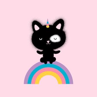 Милый котенок единорог и радуга
