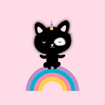 Cute kitty cat unicorn and rainbow