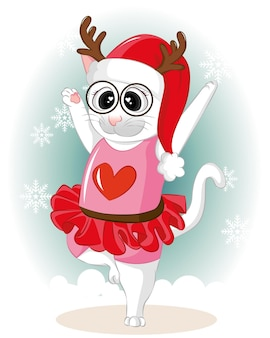 Cute kitty dancing with snow on winter day. cute vector cartoon flat cat.