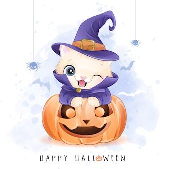 Милый котенок на хэллоуин с акварельной иллюстрацией