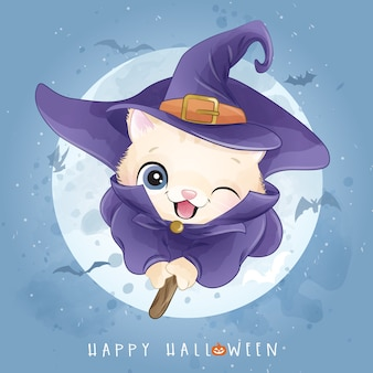 Cute kitty for halloween day with watercolor illustration