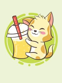 かわいい子猫氷ドリンクマスコット-漫画のキャラクターとロゴのイラスト