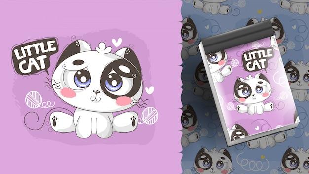 Милая идея иллюстрации котенка для блокнота и картин