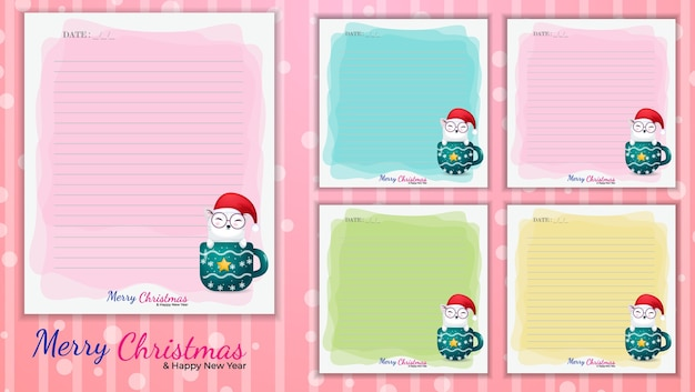 Cute kitty memo note template for christmas day