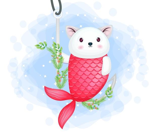 Милый котенок русалка качается на крючке мультипликационный персонаж