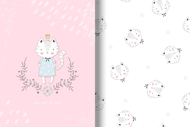Cute kitty princess card and seamless pattern