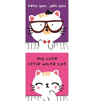 Cute kitty story cartoon set