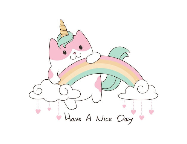 Cute kitty unicorn illustration