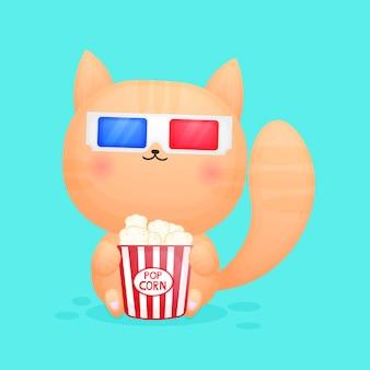 映画を見て、ポップコーンの漫画を食べるかわいい子猫