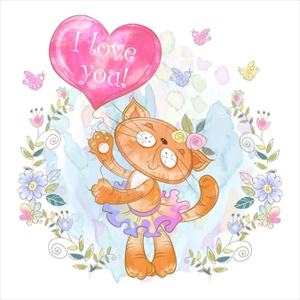 Cute kitty with a balloon in the form of a heart
