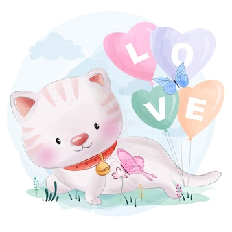 Cute kitty with balloon