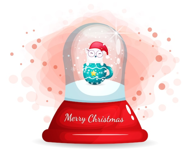 Cute kitty with cup in glass cloche for christmas day
